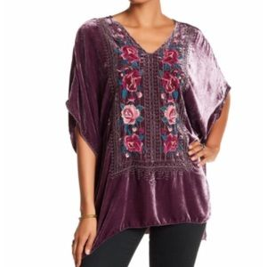 Johnny Was purple tilda embrodiered poncho top M